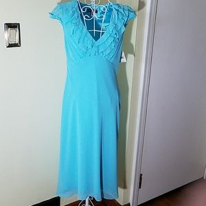 Liz Claiborne Blue Hi-Lo Dress w/ Beading. Size 6.